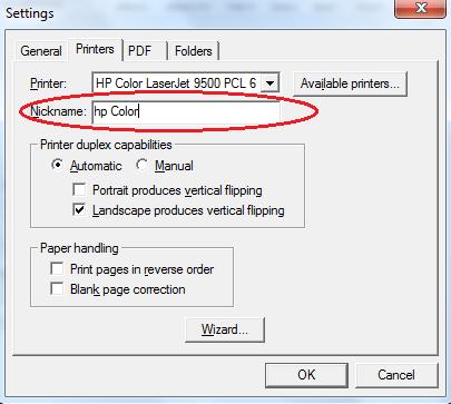Nicknaming Printers Fineprint